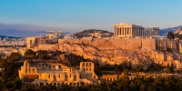 Acropolis, Parthenon and Theatre of Herodes Atticus, Athens, Greece. Golden late light.